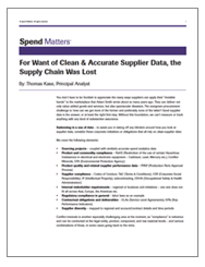 For Want of Clean & Accurate Supplier Data, the Supply Chain Was Lost Cover Image