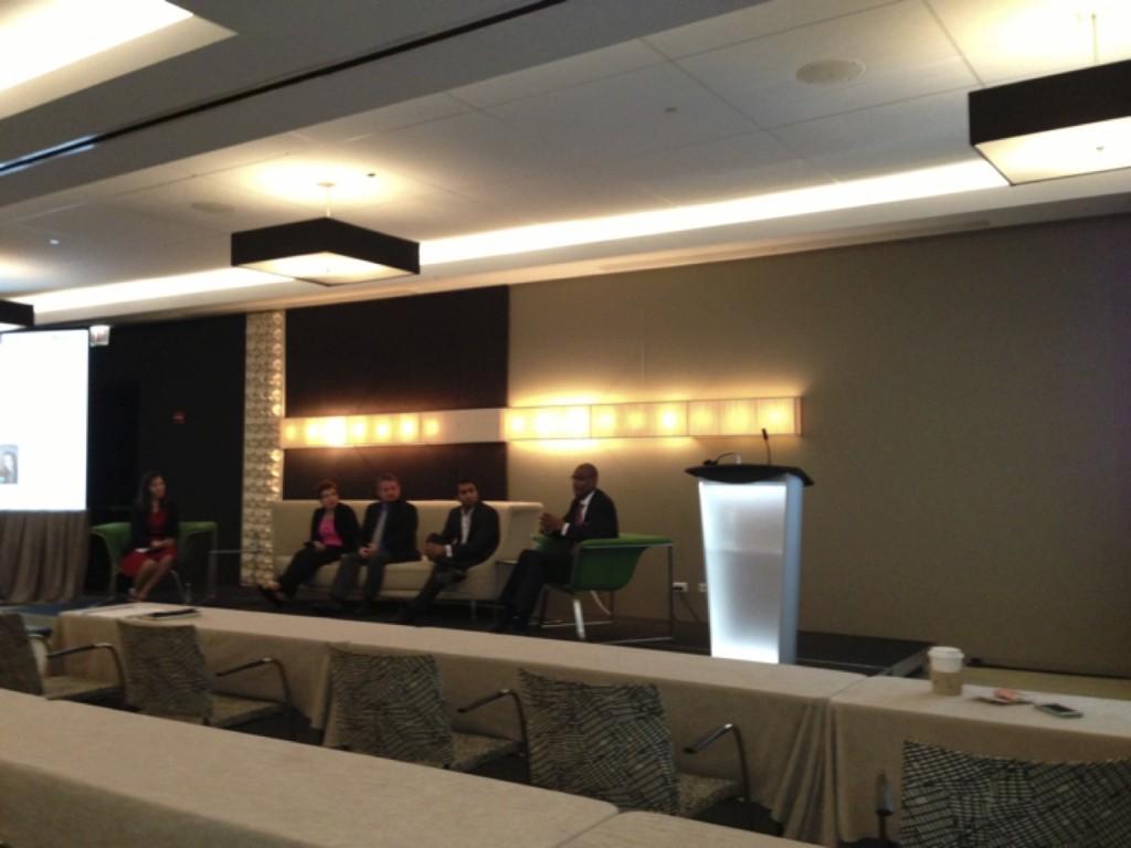 Public Policy Panel Debate: Lisa Reisman, Jennifer Diggins, Mark Pruitt, Raj Sharma, and Collis Jones (left to right)