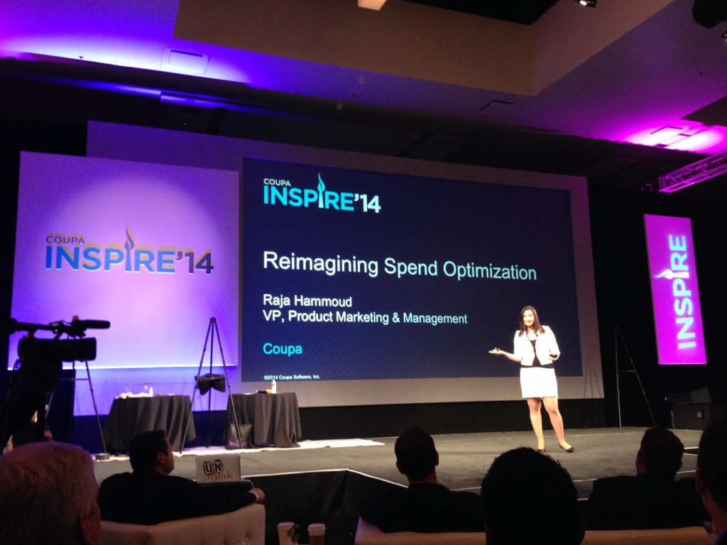 Raja Hammoud speaks at Coupa Inspire.