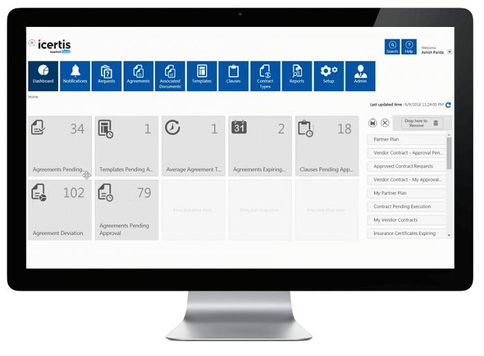 Icertis Contract Management (ICM) platform dashboard