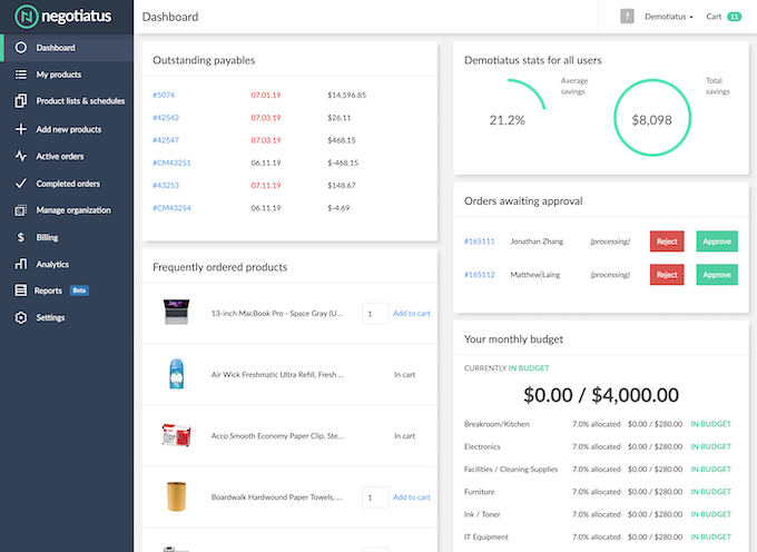 Dashboard – Quickly access approvals, frequently ordered products, and more.