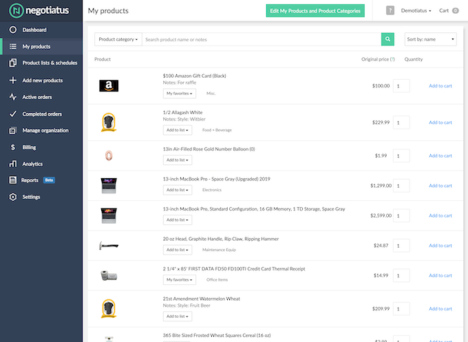 My Products – Browse one consolidated catalog of products across every vendor.
